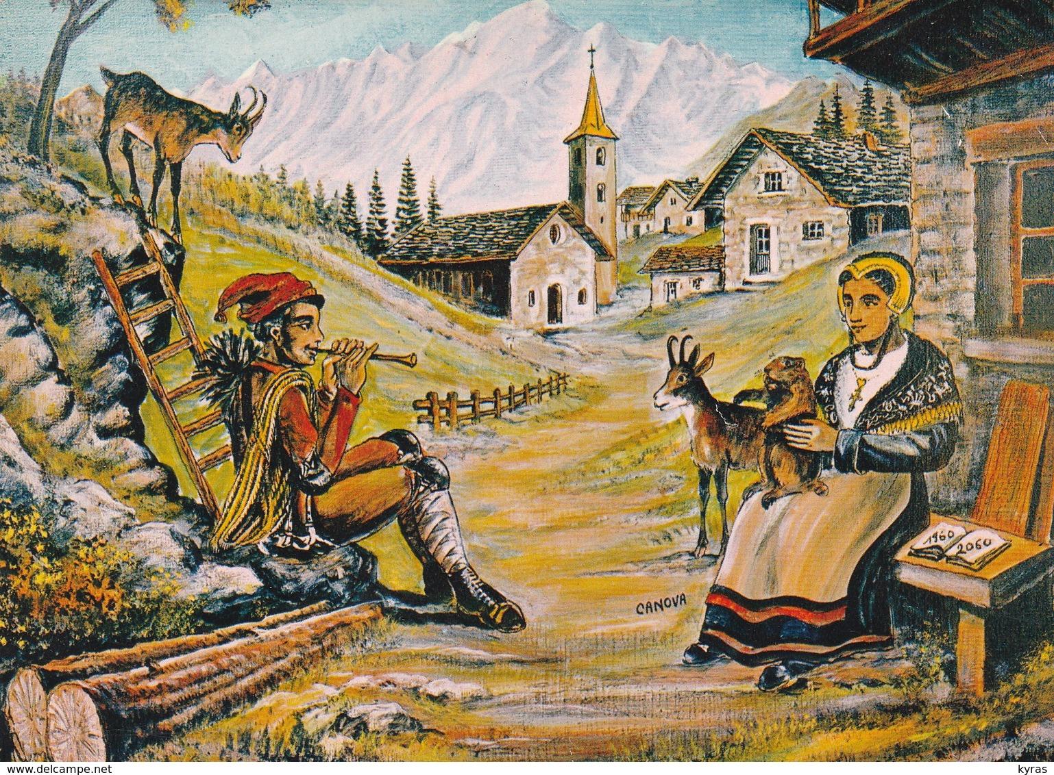 """CPM 10X15 Folklore Savoyard. Images De Chez Nous """"Du Pays Rêvé De Nos Vacances"""" Tableau De CANOVA - Costumes"""