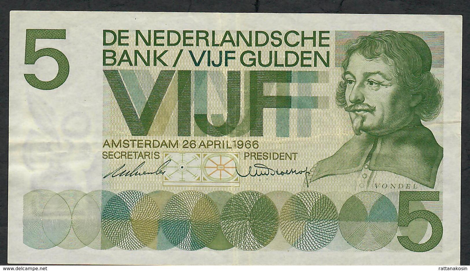 NETHERLANDS P90a 5 GULDEN 1966 VF NO Ph ! - [2] 1815-… : Reino De Países Bajos