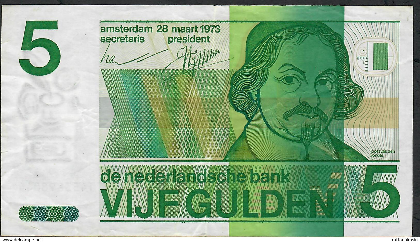 NETHERLANDS P95a 5 GULDEN 1973 VF NO Ph ! - 5 Florín Holandés (gulden)