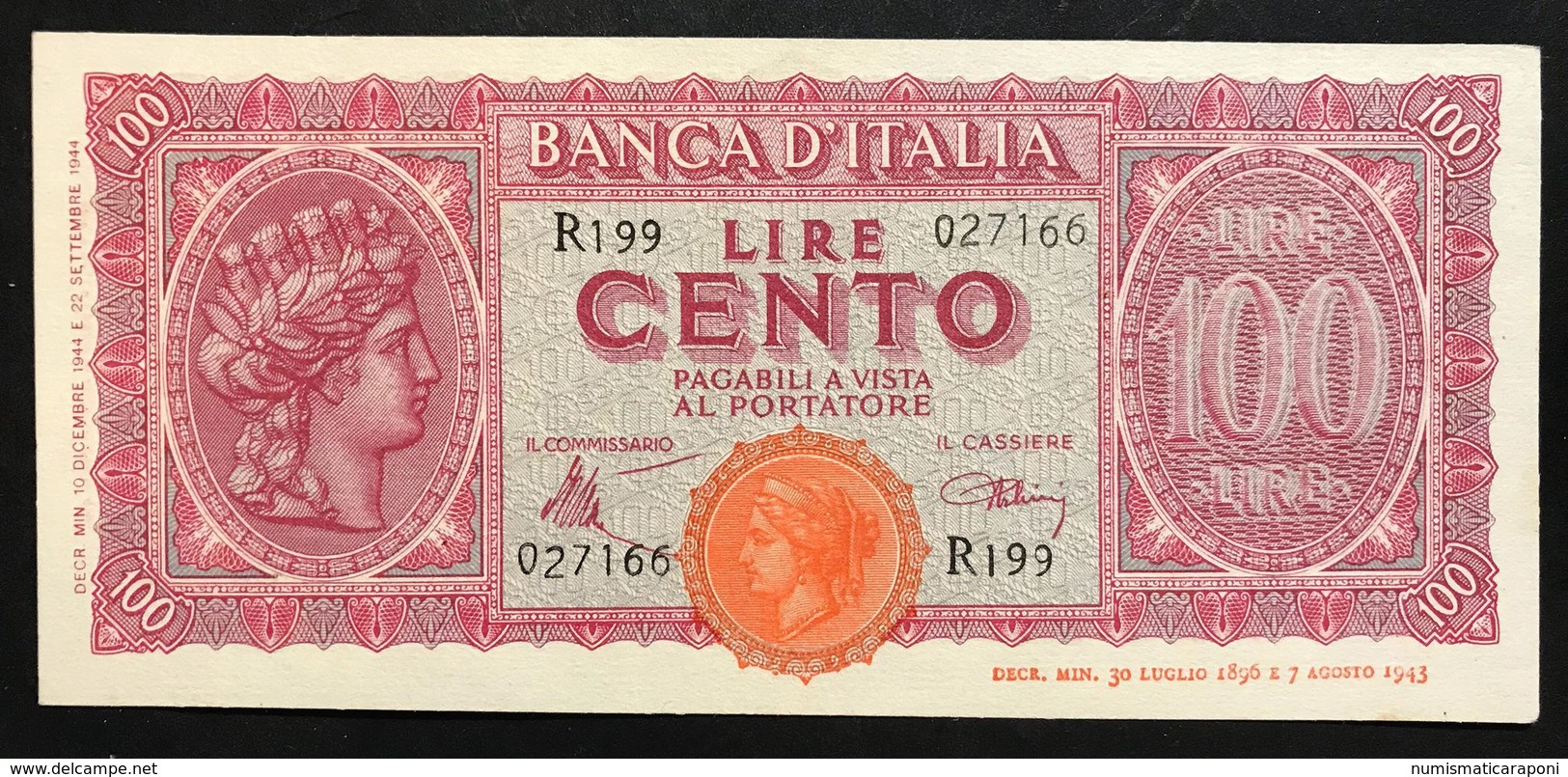 LUOGOTENENZA 1944  100 LIRE Italia Turrita Sup/fds  Lotto 2187 - Verzamelingen