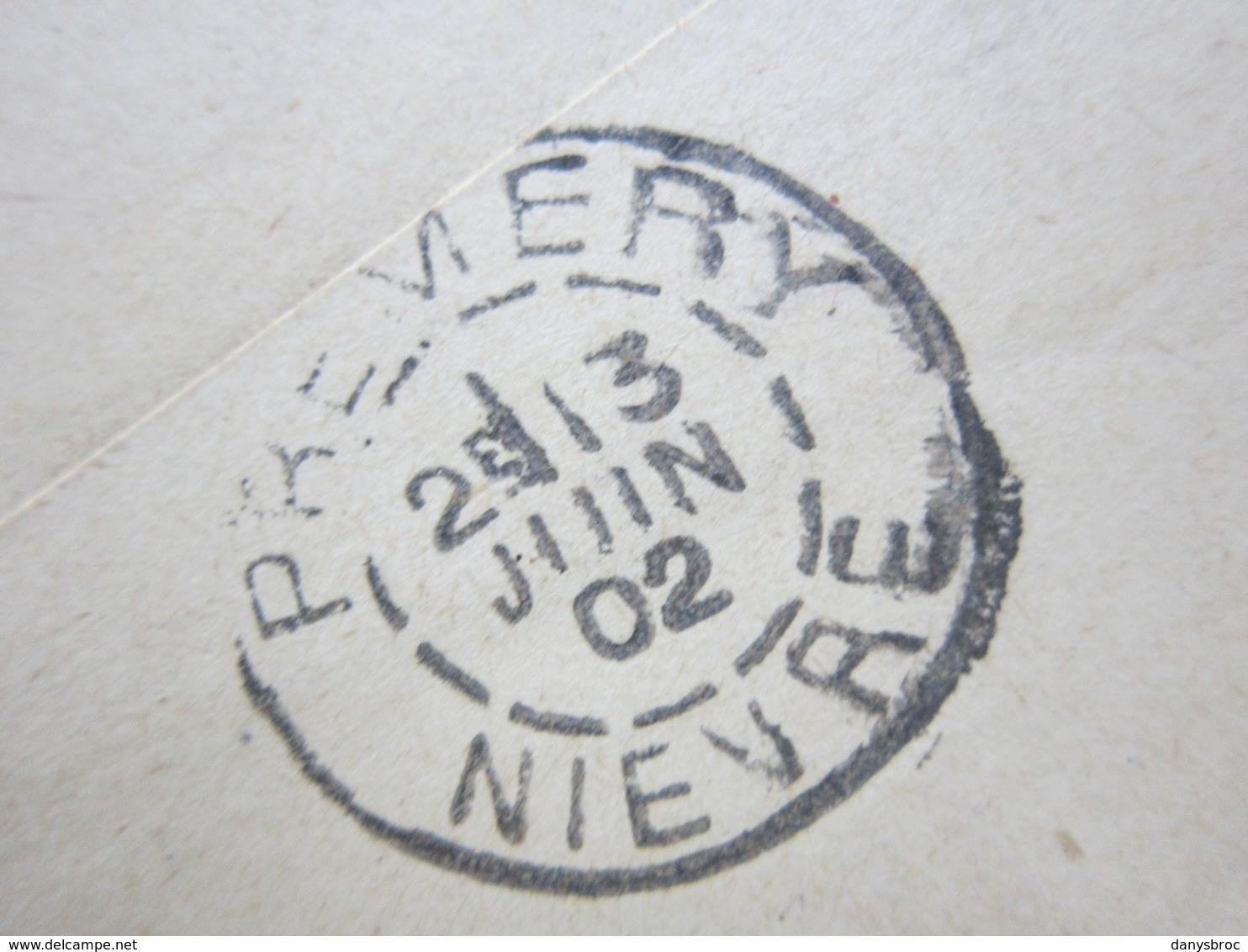 ENVELOPPE + LETTRE écrite à CHAMPLEMY (58) 12/06/1902 Obitérée CHAMPLEMY, NEVERS & PREMERY / Mouchon 15c Vermillon - Marcofilia (sobres)