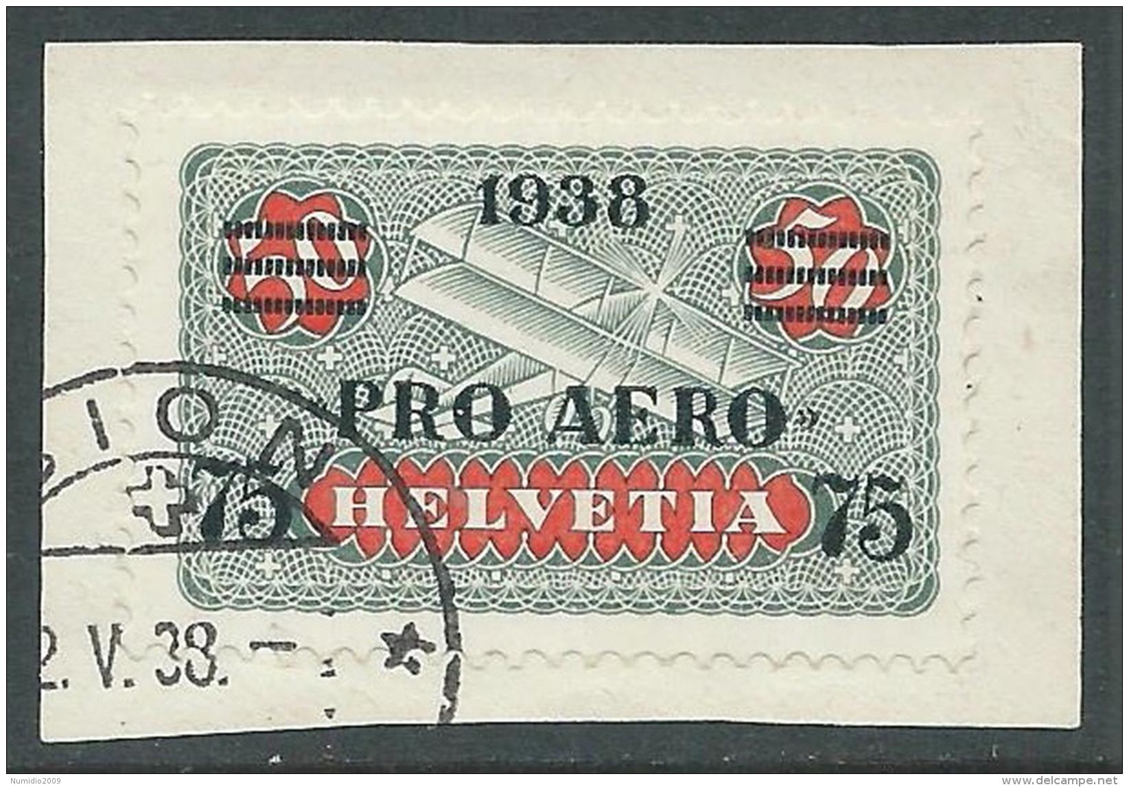 1938 SVIZZERA USATO POSTA AEREA PRO AERO - I57-10 - Posta Aerea