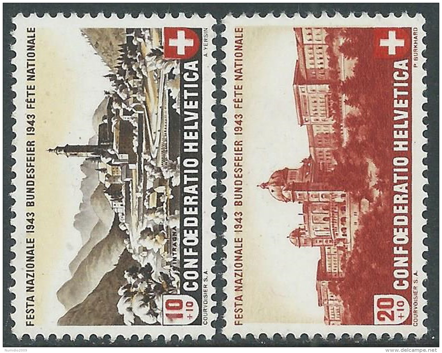 1943 SVIZZERA PRO PATRIA VEDUTE MNH ** - I56-8 - Pro Patria