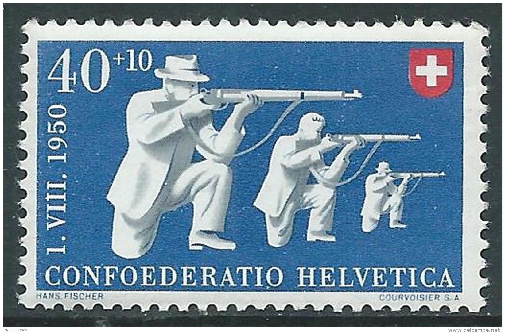 1950 SVIZZERA PRO PATRIA TIRATORI 40 CENT MNH ** - I53-9 - Pro Patria