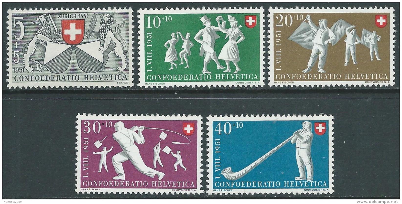 1950 SVIZZERA PRO PATRIA ZURIGO E FOLCORE NAZIONALE MNH ** - I53-9 - Nuovi