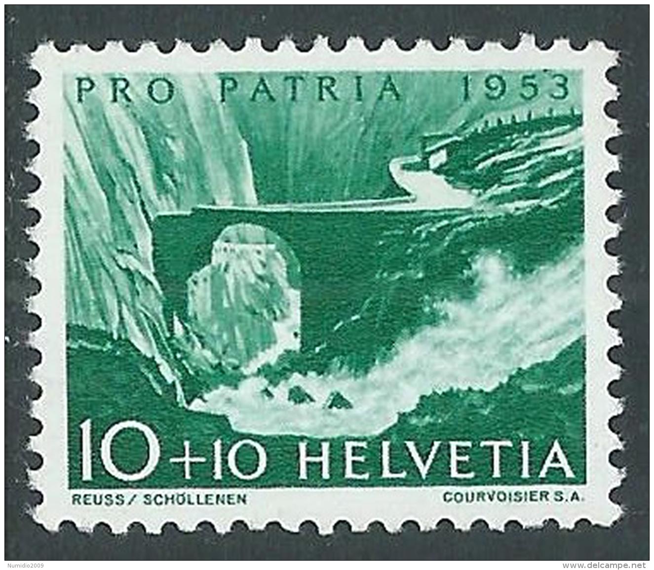1952 SVIZZERA PRO PATRIA LAGHI E CORSI D'ACQUA 10 CENT MNH ** - I49-8 - Pro Patria