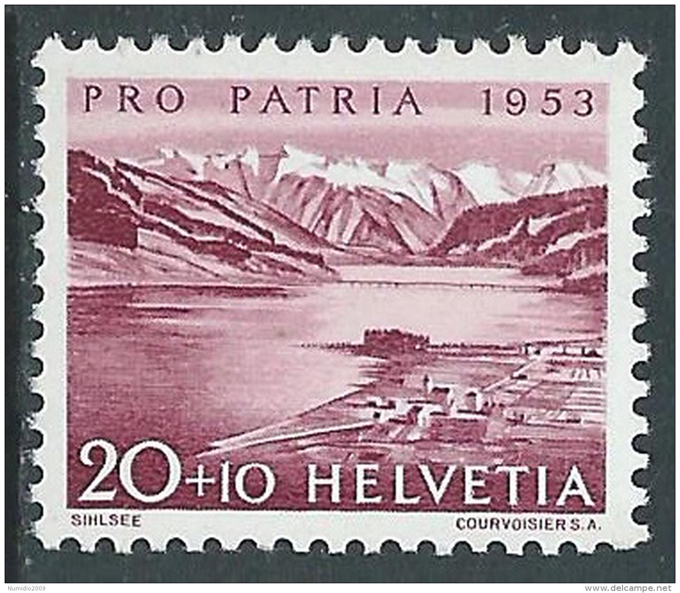 1952 SVIZZERA PRO PATRIA LAGHI E CORSI D'ACQUA 20 CENT MNH ** - I49-8 - Pro Patria