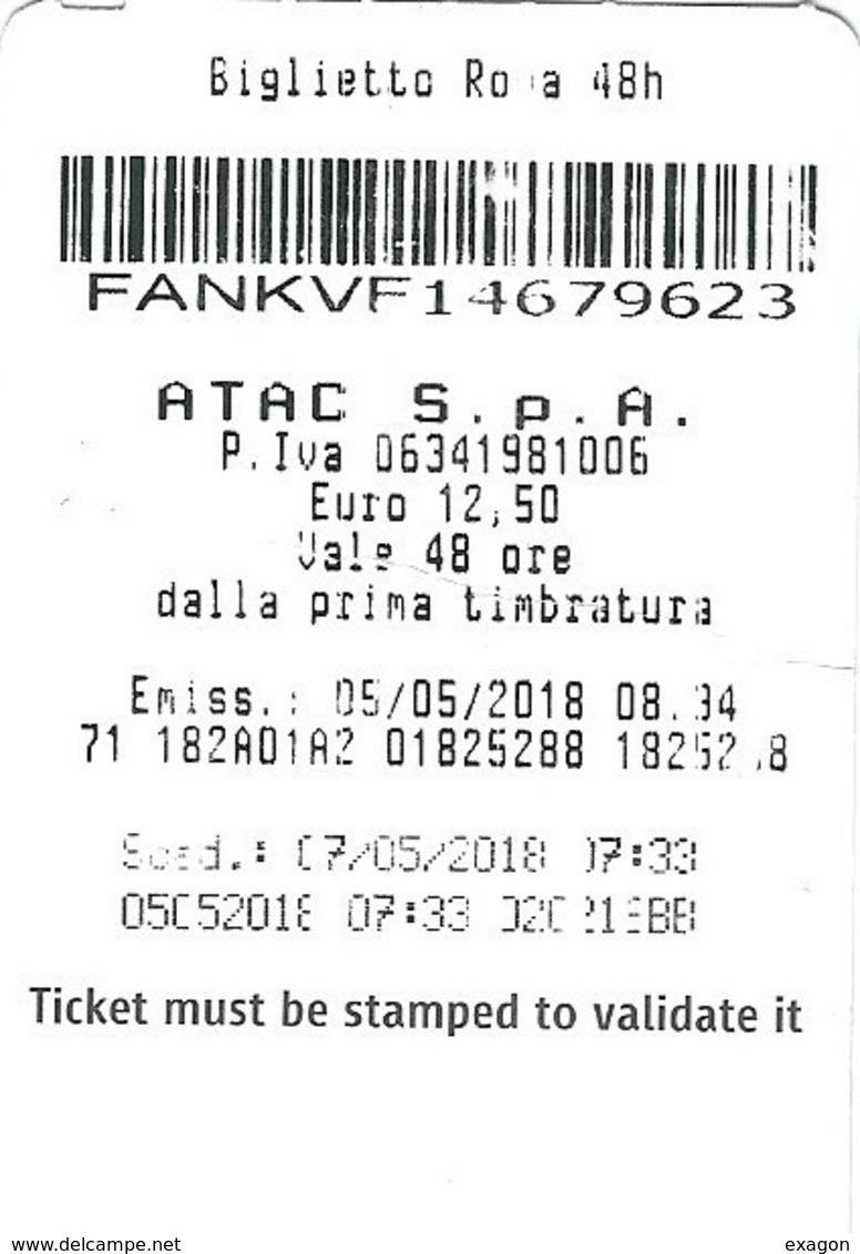 BIGLIETTO    A T A C     Città Di  ROMA   -    Roma 48 H  -   Anno 2018. - Bus
