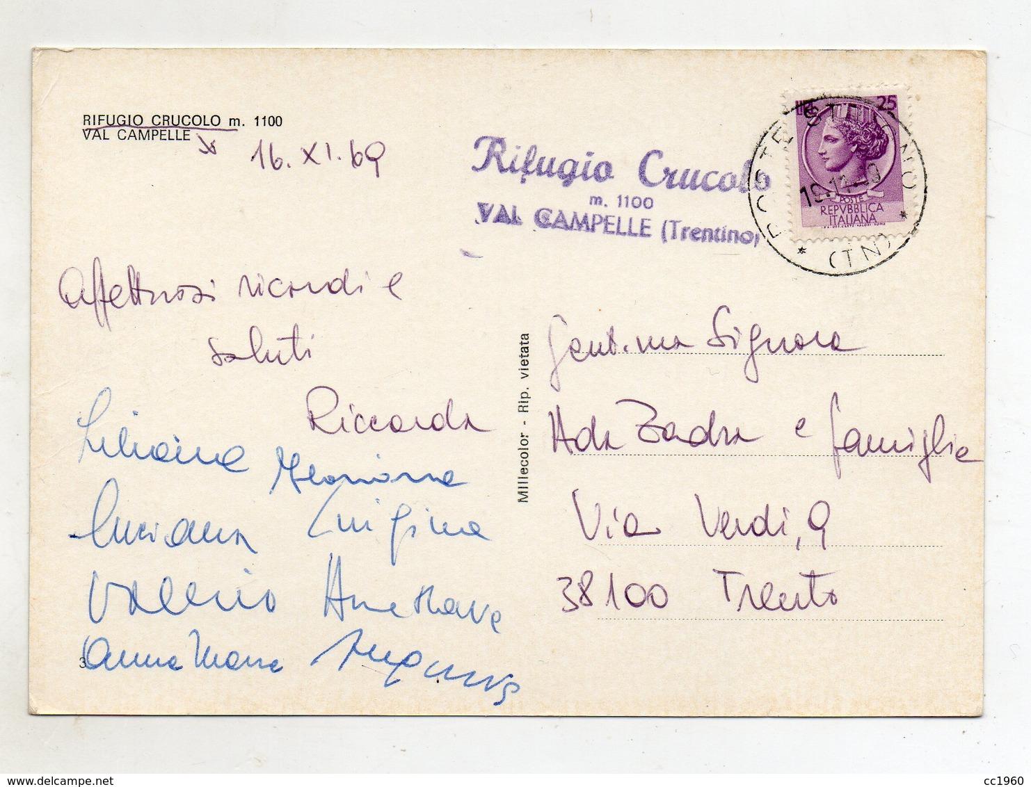 Scurelle (Trento) - Rifugio Crucolo - Val Campelle - Viaggiata Nel 1969 - (FDC11218) - Trento