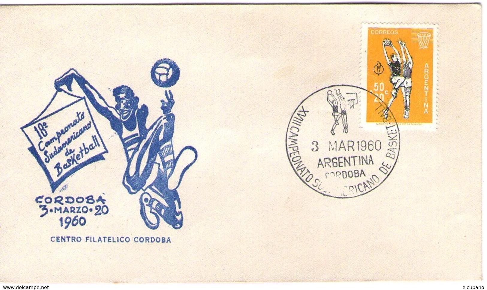 Argentina Basket Ball - Baloncesto XVIII Campionati Sudamericani Cordoba 3 Marzo 1960 Annullo Speciale - Argentina