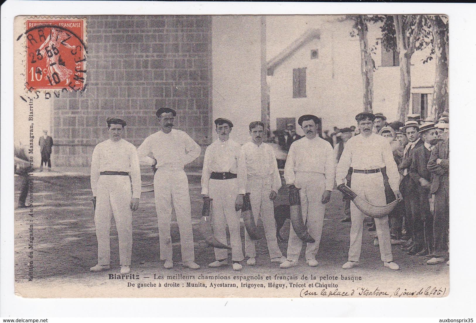 PELOTE BASQUE - BIARRITZ - LES MEILLEURS CHAMPIONS ESPAGNOLS ET FRANCAIS - 64 - Biarritz