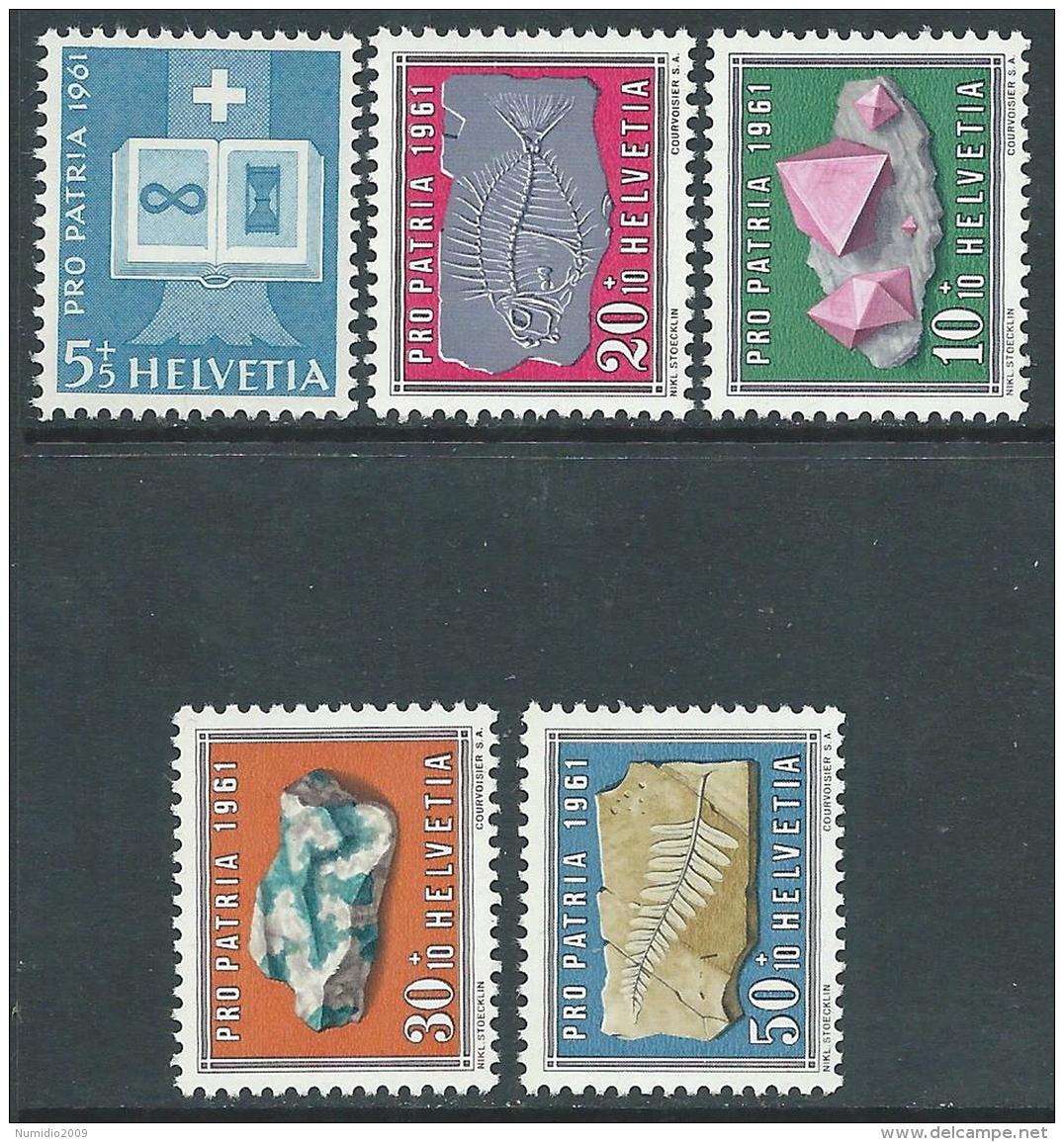 1961 SVIZZERA PRO PATRIA MINERALI E FOSSILI MNH ** - I59-2 - Pro Patria