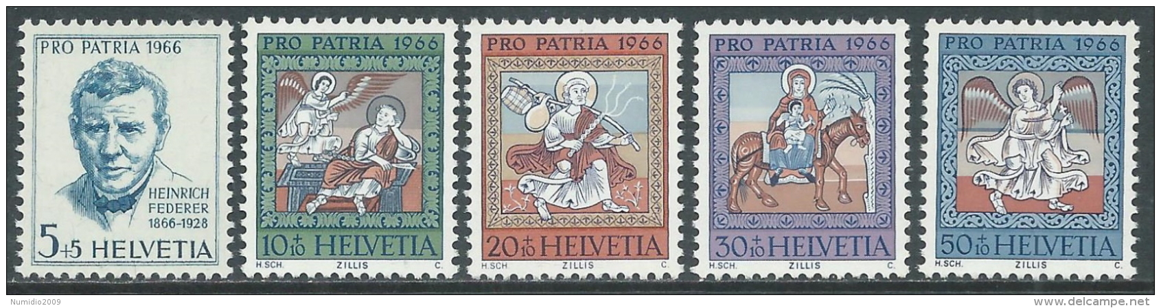 1966 SVIZZERA PRO PATRIA H. FEDERER QUADRI S. MARTINO DI ZILLIS MNH ** - I59-5 - Pro Patria