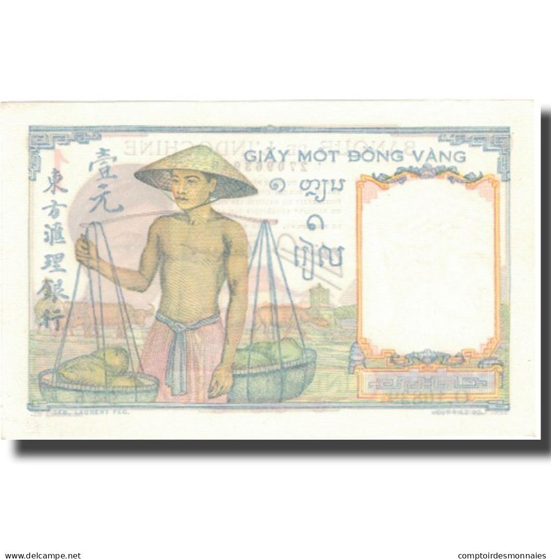 Billet, FRENCH INDO-CHINA, 1 Piastre, Undated (1945), KM:54d, SPL+ - Indochine