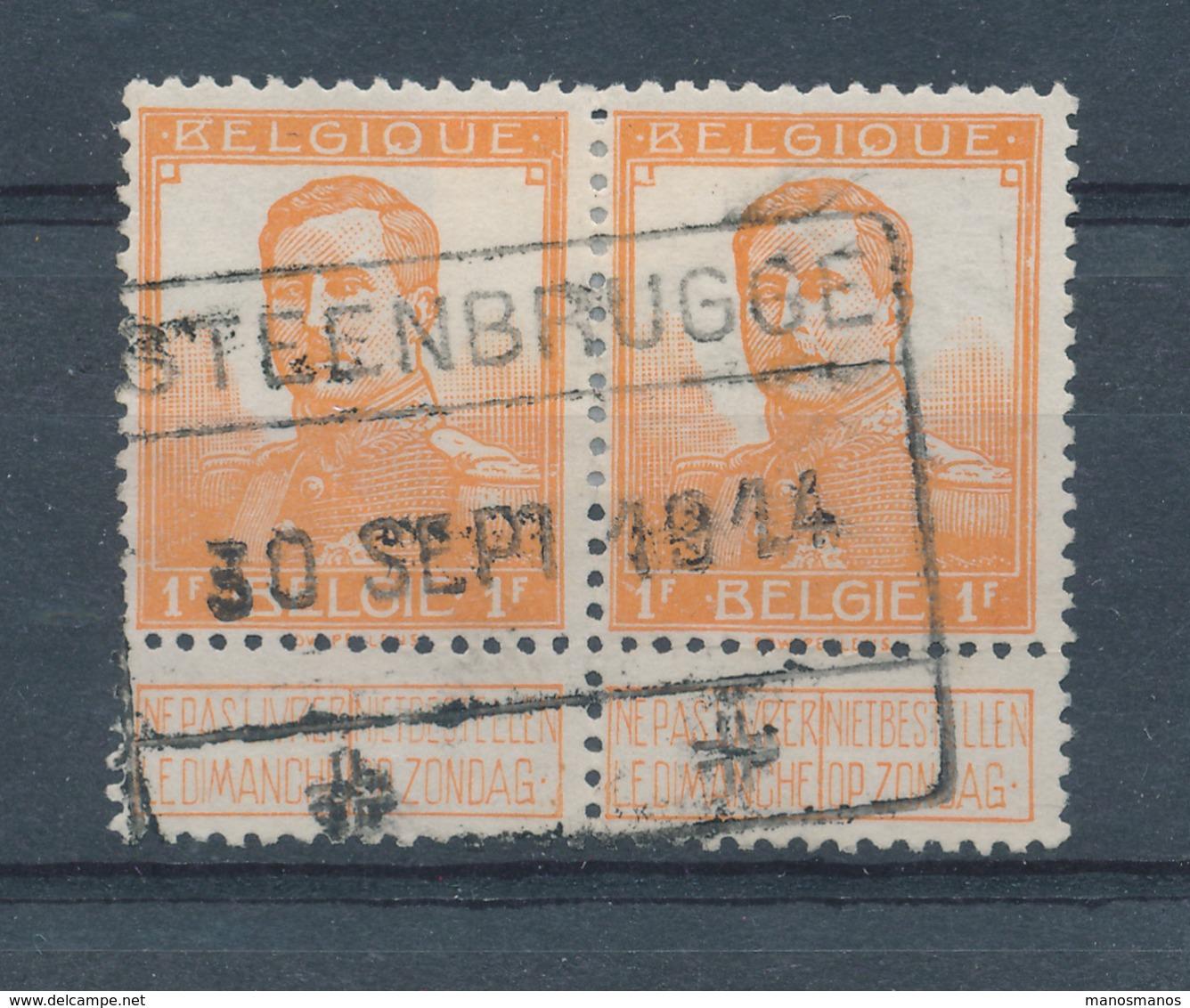 061/27 - Invasion Allemande - RARE Paire TP Pellens Cachet De Gare STEENBRUGGE 30 Sept. 1914 - Lijn BRUGGE / GENT - WW I