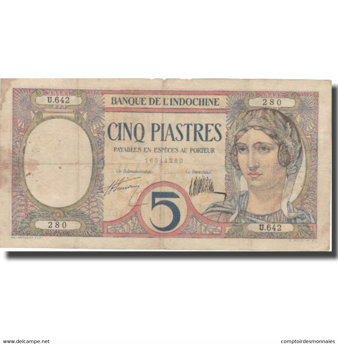 Billet, FRENCH INDO-CHINA, 5 Piastres, Undated (1926), KM:49b, TB+ - Indochine