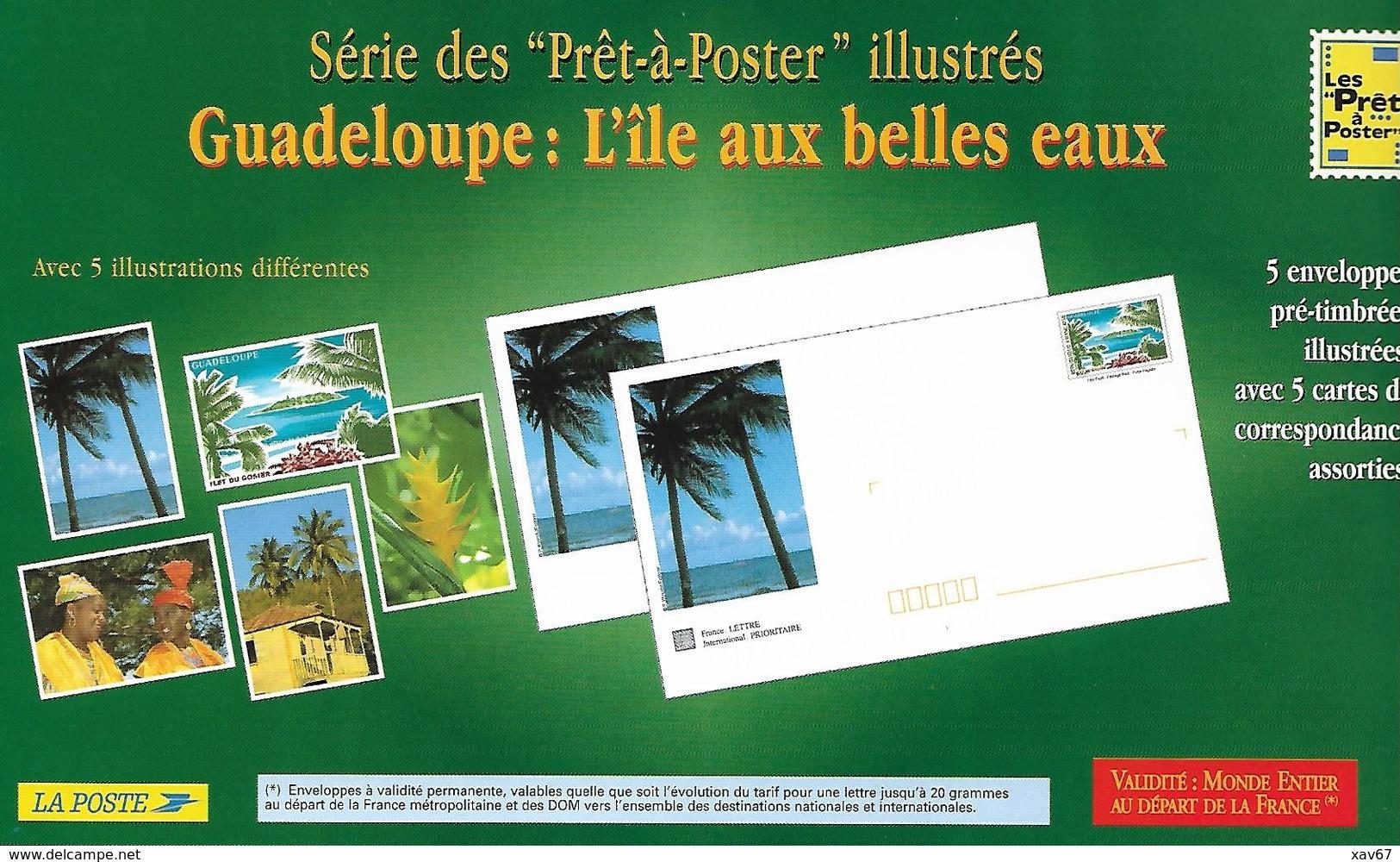 PAP Guadeloupe Lot De 5 Enveloppes Différentes + Cartes De Correspondance N° 889 Lot 436/001 - Ganzsachen