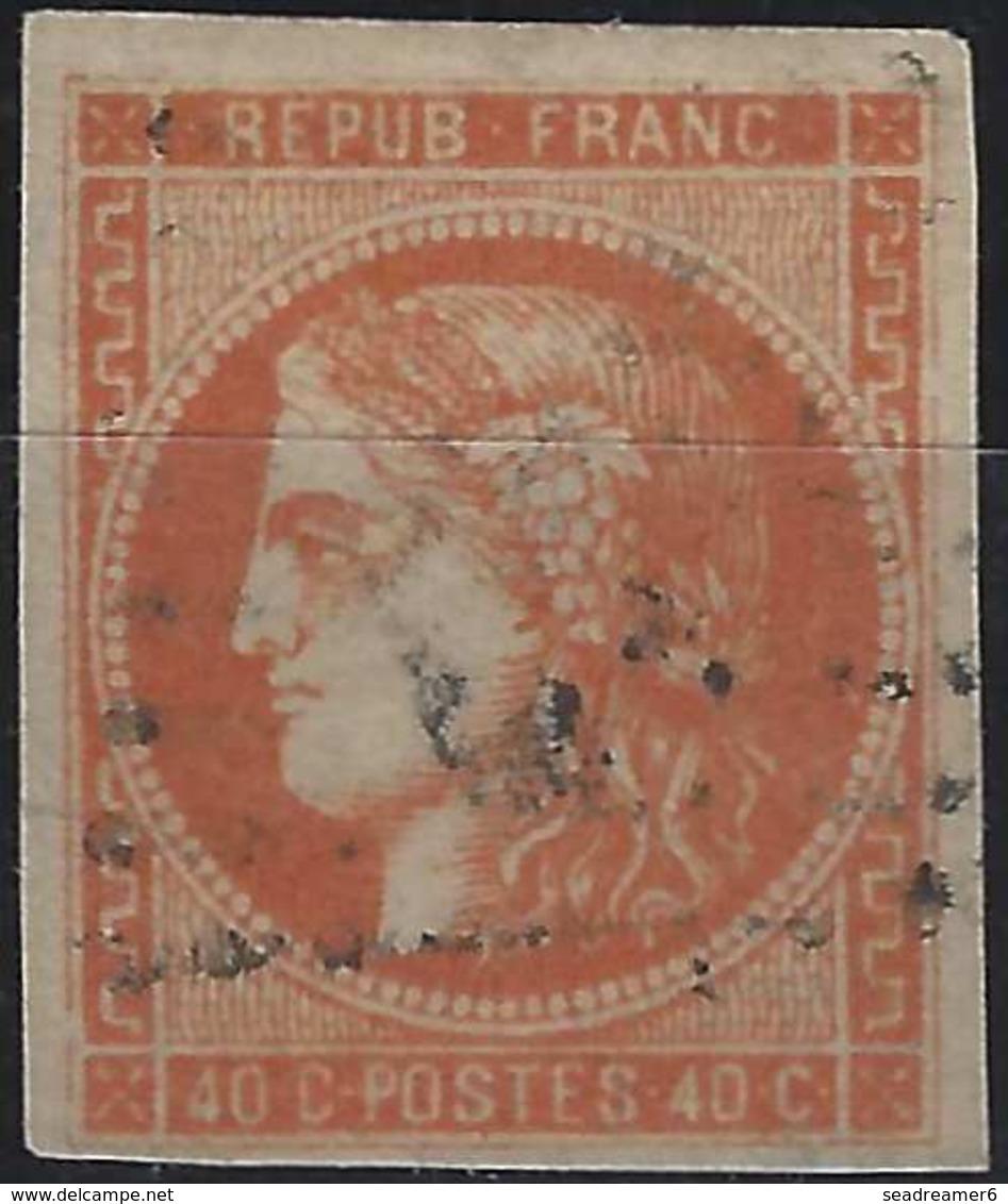 1870 Bordeaux  N°48e  (case 4 Du Bloc Report) , 40c Orange Fonçé Oblitéré GC Tres Frais  Signé A.BRUN ... - 1870 Emission De Bordeaux