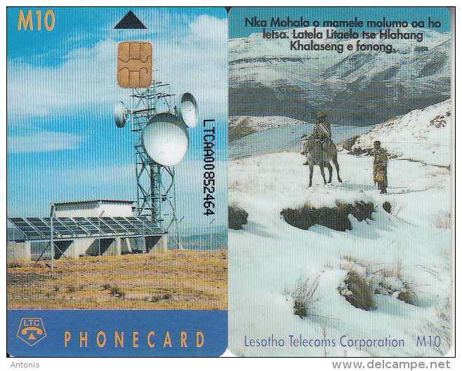 LESOTHO - Earth Station, First Issue, CN : LTCAA(thick Writing), Chip Siemens 35, Used - Lesotho