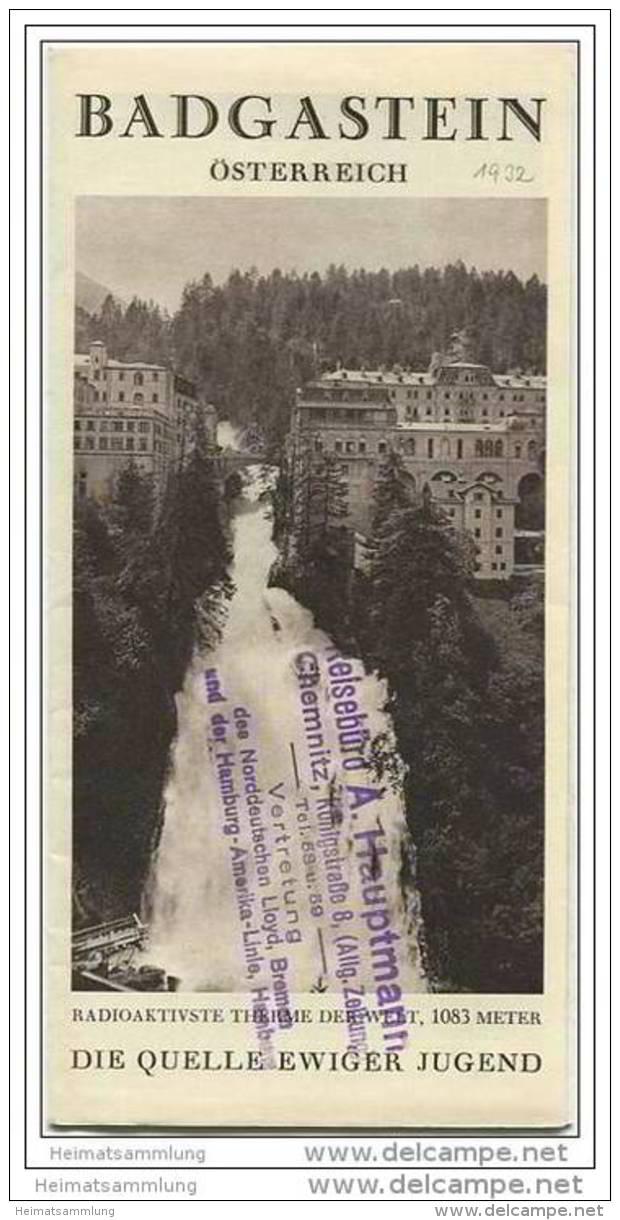 Badgastein 1931 - Faltblatt Mit 10 Abbildungen - Hotels Und Kurhäuserverzeichnis - Oesterreich