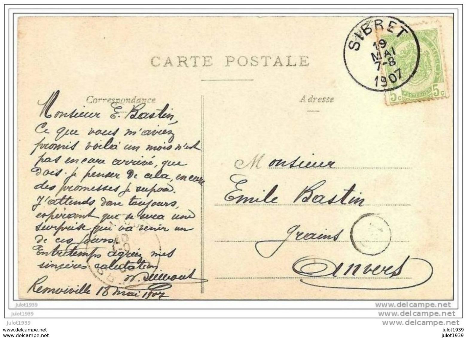 REMOIVILLE ..--  Ecole Communale . 1907 Vers ANVERS ( Mr Emile BASTIN ) . Voir Verso . - Vaux-sur-Sûre