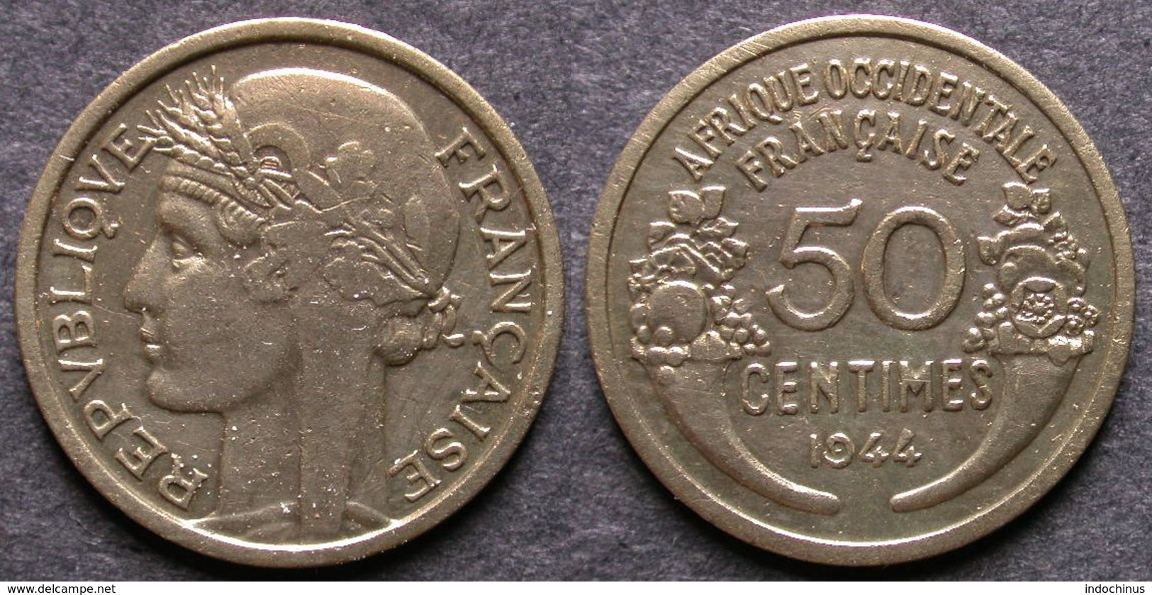 AFRIQUE OCCIDENTALE FRANCAISE   50 Centimes  1944  AOF   FRENCH WESTERN AFRICA   PORT OFFERT - Mauritania