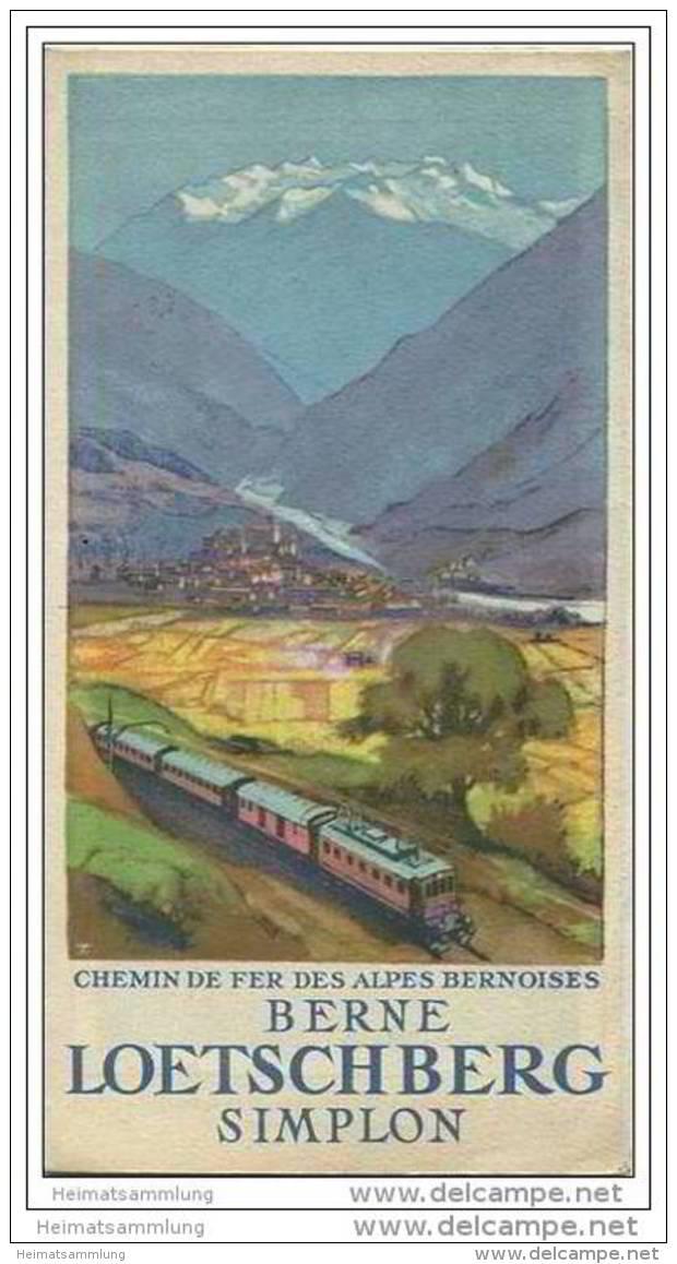 Loetschberg 30er Jahre - Faltblatt Mit 5 Abbildungen - Grosse Reliefkarte - In Französischer Sprache - Reisen