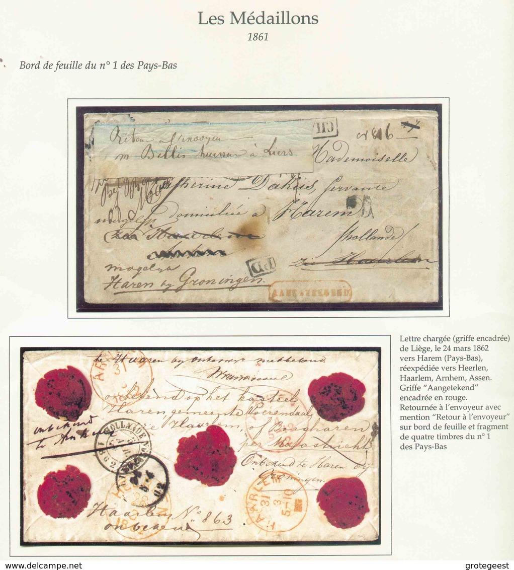 Lettre CHARGE (griffe Noire) De LIEGE Le 24 Mars 1862 Vers Harem (Pays-Bas), Réexpédiée Vers Heerlen, Haarlem, Arnhem Et - Belgique