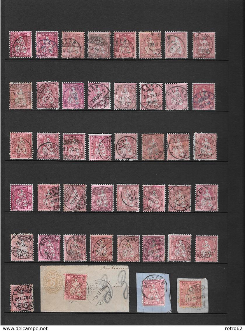 1862 - 1881 SITZENDE HELVETIA Gezähnt → Grosse Sammlung Auf 14 Albumseiten ►RRR◄ - Svizzera