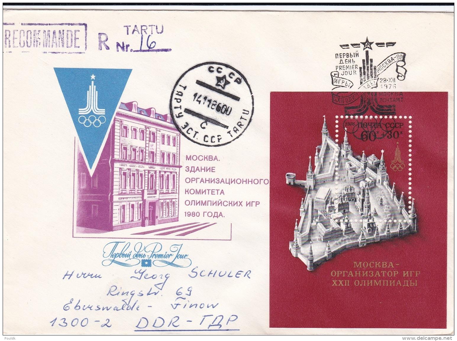 Soviet FDC 1980 Olympic Games Moscau  Souvenir Sheet - Later Reposted As Registered From Taru, Estonia (DD21-36) - Sommer 1980: Moskau