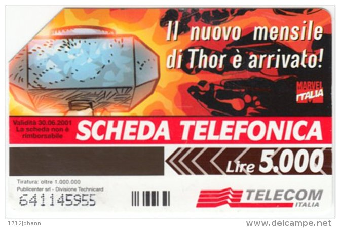 ITALY F-214 Magnetic SIP - Comics, Thor Exp. 30.06.01 - Used - Öff. Sonderausgaben