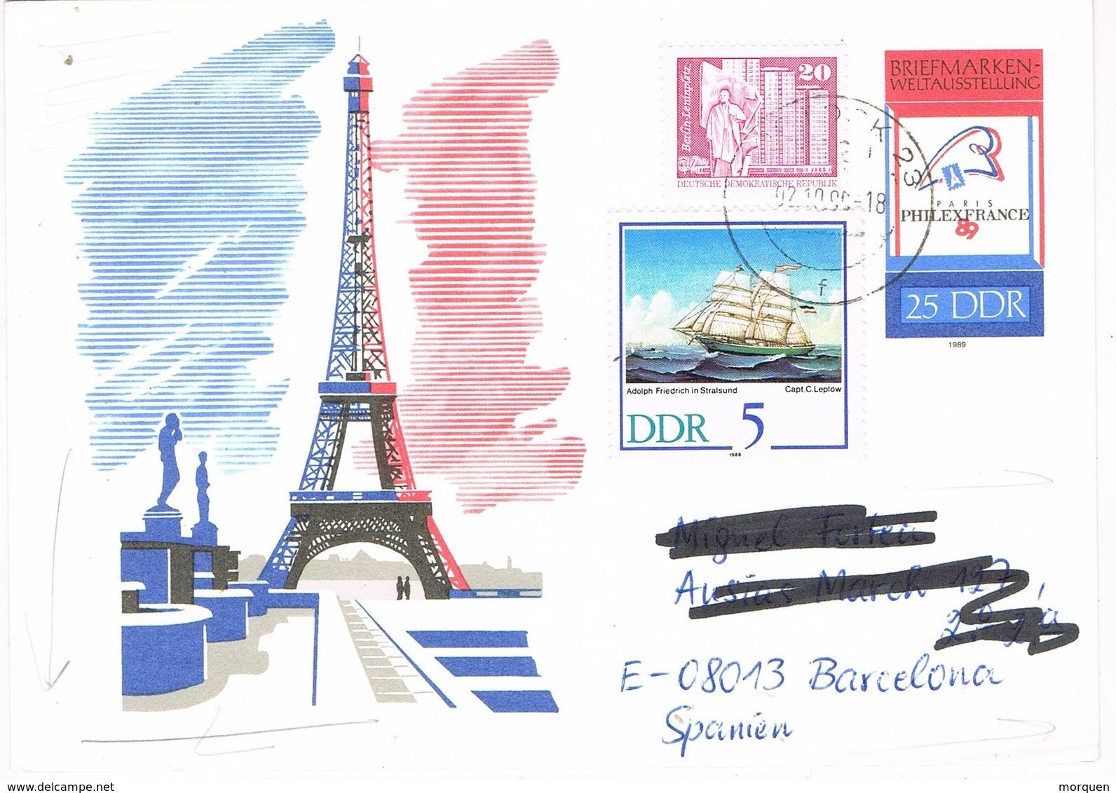 29602. Entero Postal ROSTOCK (Alemania DDR)  1990. Tour Eiffel - [6] República Democrática