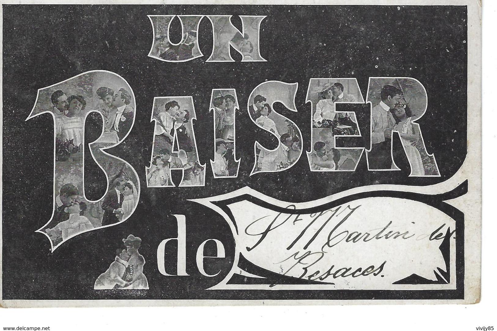 """14 - St MARTIN DE BESACES - ( CALVADOS ) - Carte Fantaisie """" Un Baiser De ..."""" - France"""
