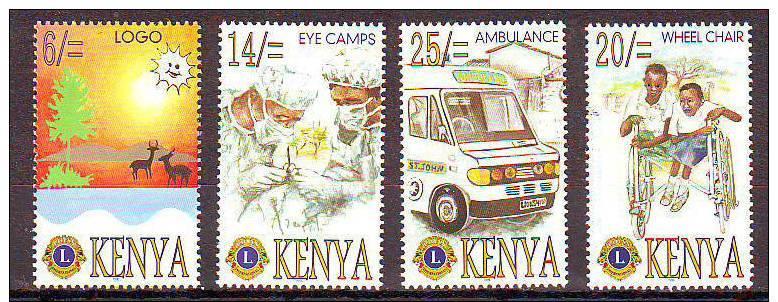 KENYA- IMPLICATIONS DU LIONS CLUB INTERNATIONAL AU KENYA   -1996 - 4 V -     NEUF**- 10-96 - Rotary, Lions Club