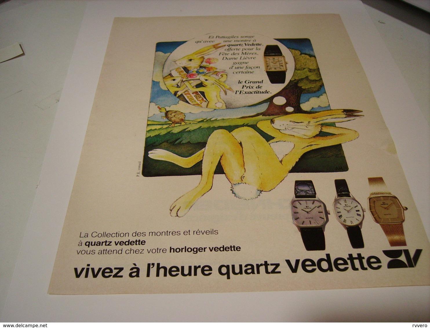 ANCIENNE PUBLICITE AFFICHE MONTRE QUARTZ VEDETTE 1979 - Bijoux & Horlogerie