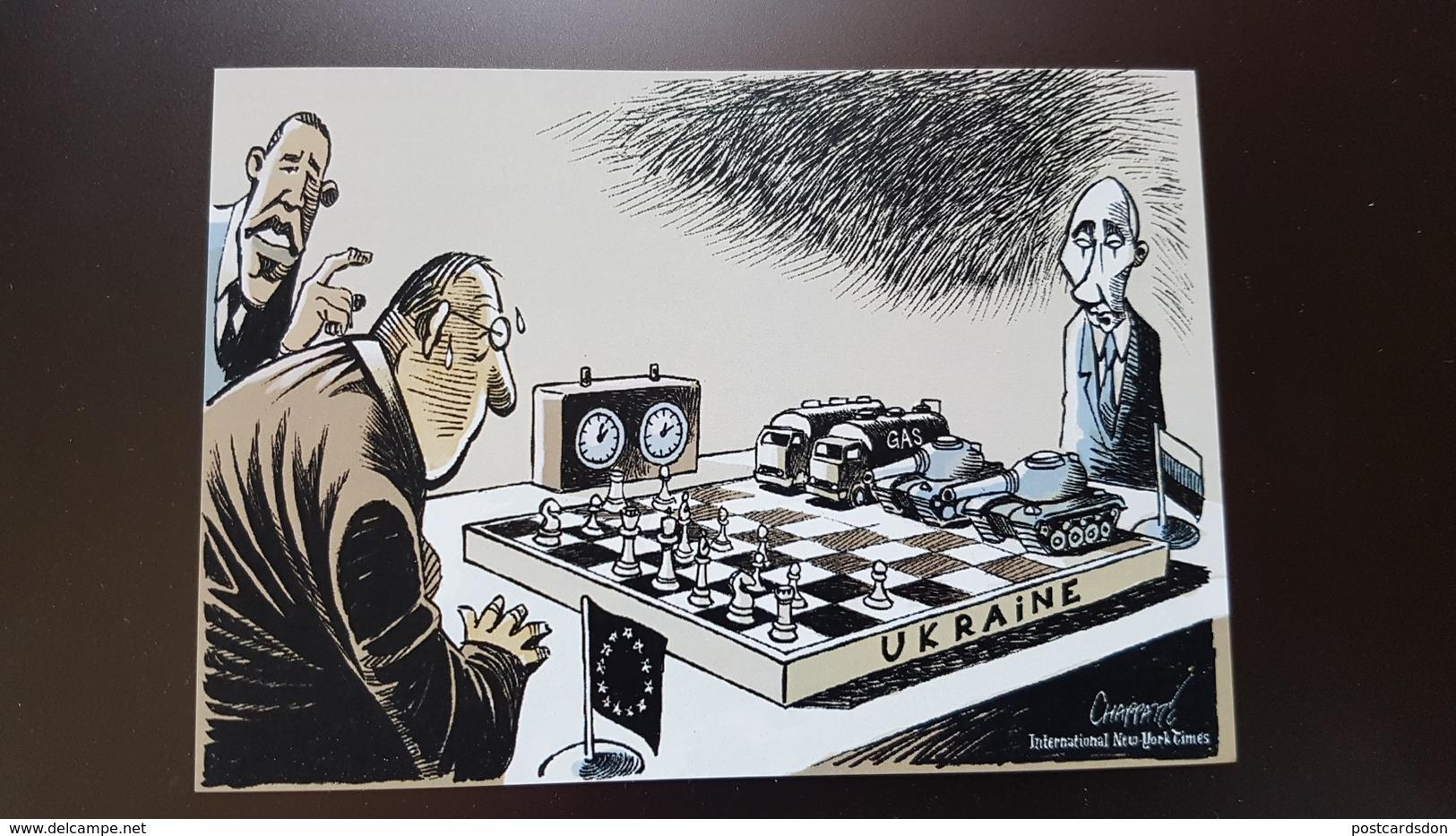 JEU - ECHECS - CHESS  - Humour - Satire - Putin - Obama - Modern Ukrainian Postcard - Echecs