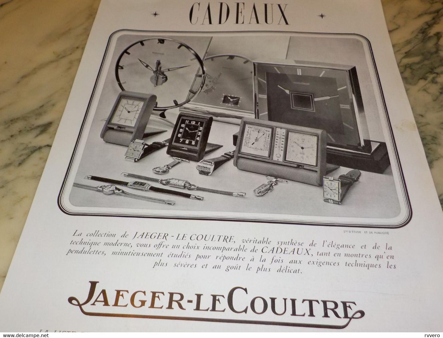 ANCIENNE PUBLICITE COLLECTION JAEGER-LECOULTRE CADEAUX  1938 - Autres