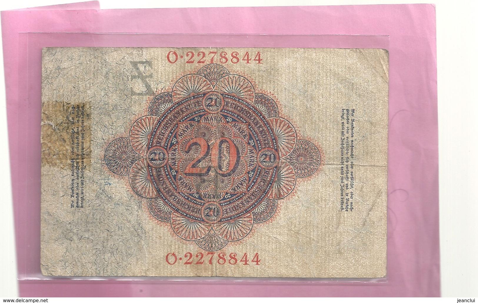 REICHSBANKNOTE . ZWANZIG ( 20 ) MARK . 19 - 2 - 1914 . 2 SCANES - [ 2] 1871-1918 : Empire Allemand