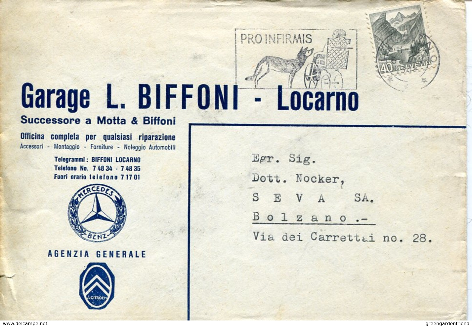 36918 Switzerland, Special Postmark 1948 Pro Infirmis, Showing A Dog And Handicapped - Behinderungen