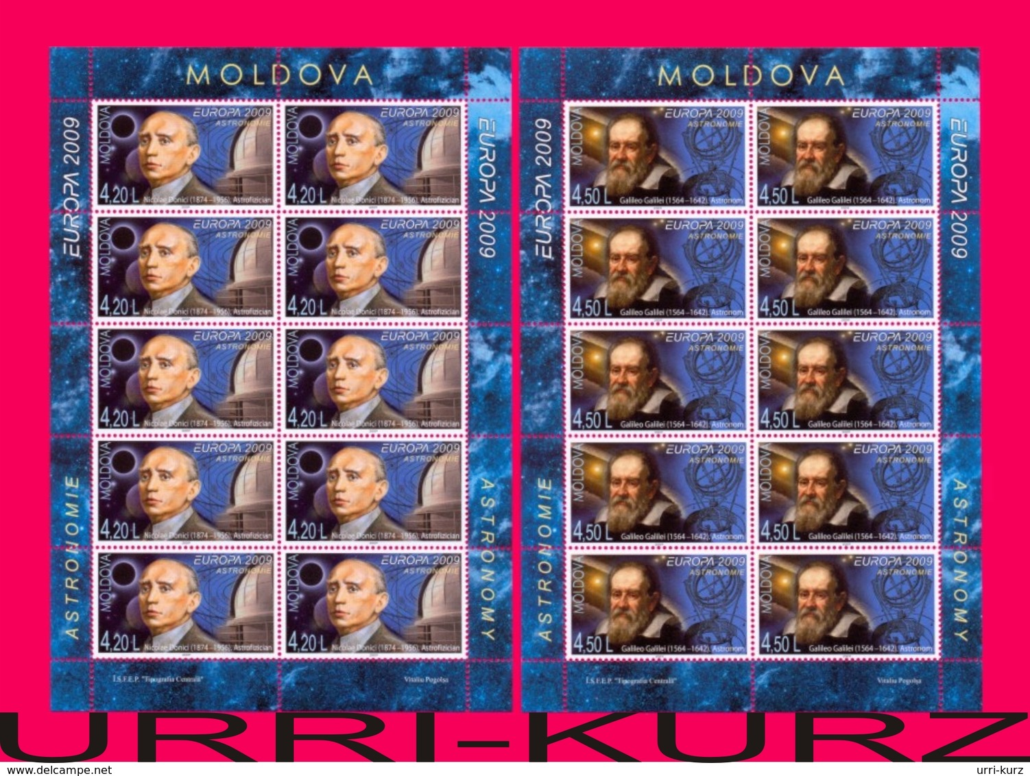 MOLDOVA 2009 Europa CEPT Astronomy Space Famous People Scientists Galileo Galilei Nicolae Donici 2 M-s Mi Klb.650A-651A - Space