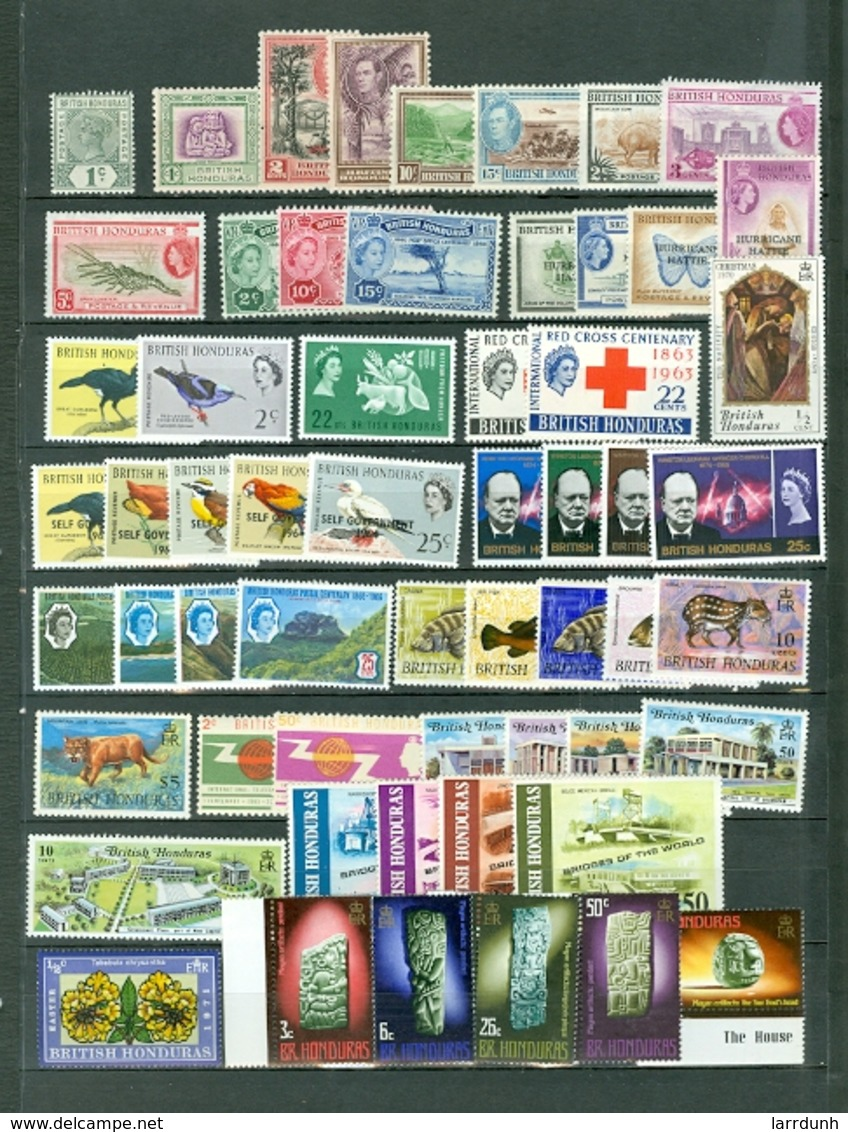 Br Honduras Collection 56 Items Including 7 Sets Birds Red Cross Churhill Views Royals More Most MNH Some Mint A04s - British Honduras (...-1970)
