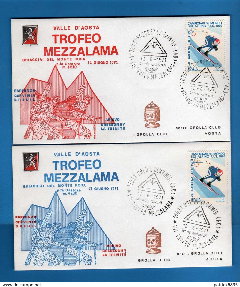 FDC. -  GROLLA CLUB - 1971 - TROFEO MEZZALAMA. Annulli  12/06/1971 Vedi Descrizione. - Sports D'hiver