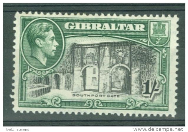 Gibraltar: 1938/51   KGVI     SG127b    1/-   [Perf: 13]   MH - Gibraltar