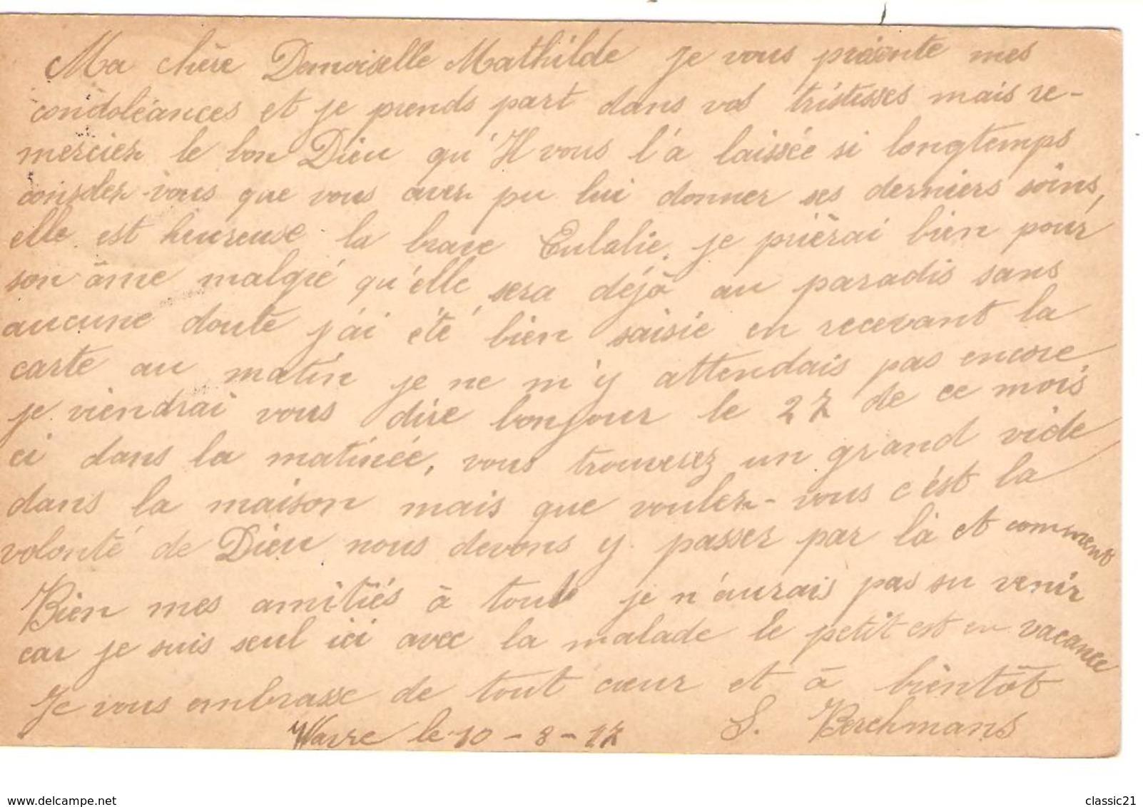 2340/ Entier CP 8c C.Waver-Wavre 1917 V.BXL Censure Ottignies - WW I