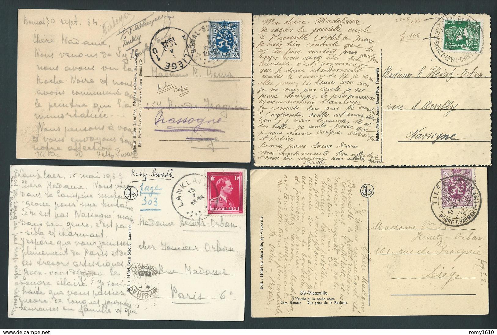 Lot  De 4 Cartes Post. Envoyées à Richard Heintz, Peintre Né à Herstal. Palogne, Sy, Florenville, Lanklaer. 2 Scans - Ferrieres