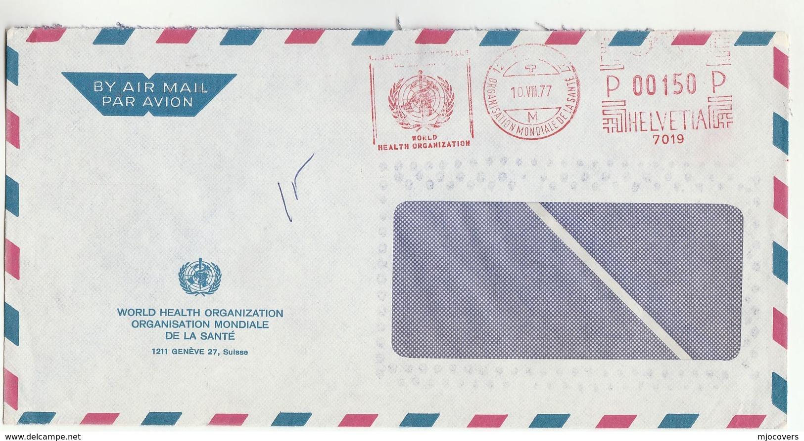 1977 WHO GENEVE Cover Illus METER SLOGAN  World Health Organization , Un United Nations, Switzerland - WHO
