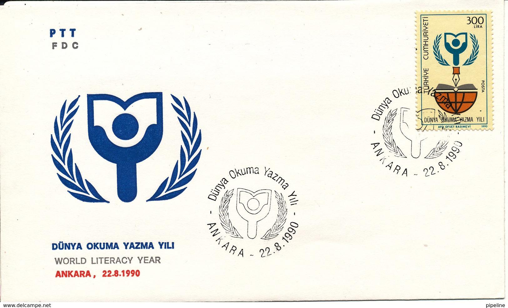 Turkey FDC 22-8-1990 World Literacy Year With Cachet - 1921-... République