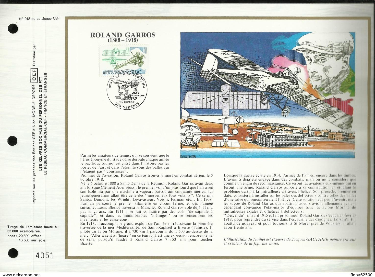 CEF N° : 918 . ROLAND GARROS . 02 JUILLET 1988 . SAINT DENIS DE LA REUNION . - FDC