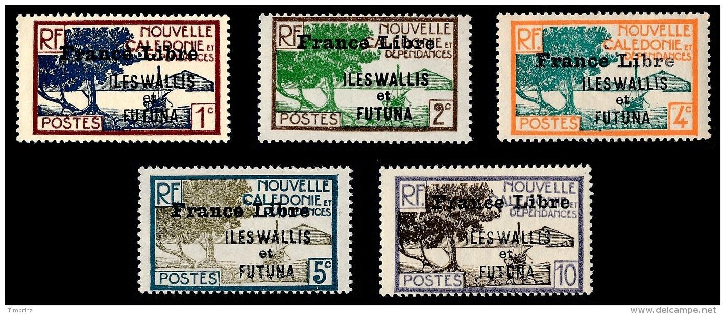 WALLIS ET FUTUNA 1941 - Yv. 92 93 95 96 97 NEUFS *   Cote= 21,75 EUR - 5 Timbres Surch. France Libre  ..Réf.W&F22171 - Wallis And Futuna