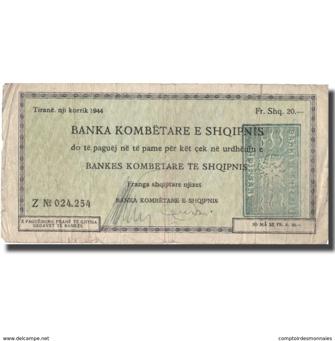 Billet, Albania, 20 Franga, 1944, 1944, TB+ - Albanië